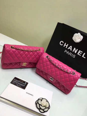 CHANEL 1112 Rose Red Medium Size 2.55 Lambskin Leather Flap Bag With Gold/Silver Hardware