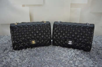 CHANEL 1112 Black Size 33cm Caviar Leather Flap Bag With Gold / Silver Hardware