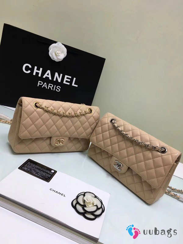 CHANEL 1112 beige 2.55 Calfskin Leather Flap Bag with Gold Hardware