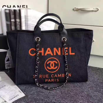 Chanel Dark Blue Canvas Large Deauville Shopping Bag A68046 VS04495