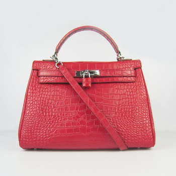 Hermes Replica Hermes Kelly 6108 Red Crocodile Bag