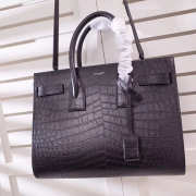 LARGE SAC DE JOUR CARRY ALL BAG IN BLACK CROCODILE EMBOSSED LEATHER - 5