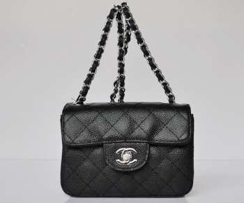CHANEL 1112 Black Caviar Leather Flap Bag With Silver Hardware