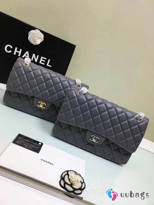 Chanel 1112 Grey Large Size 30cm Lambskin Leather Flap Bag