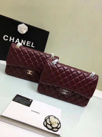 CHANEL 1112 Wine Red Large Size 30cm Lambskin Leather Flap Bag With Gold/Silver Hardware