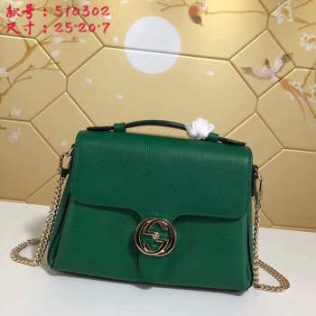 Gucci GG Flap Shoulder Bag On Chain Green 5103032