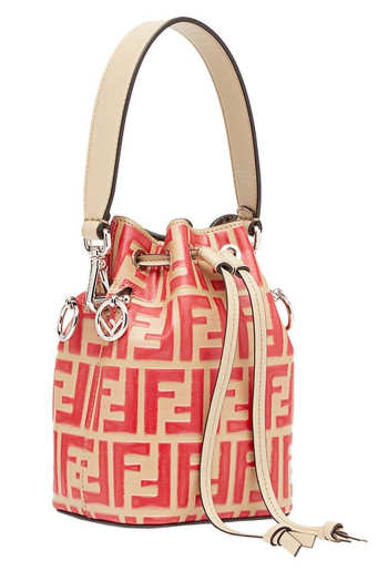 Fendi FF Mon Tresor Mini Bucket Bag In Beige Calfskin