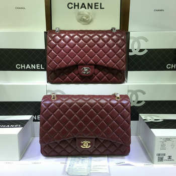CHANEL 1112 Maroon Red Size 33cm Lambskin Leather Flap Bag With Gold / Silver Hardware