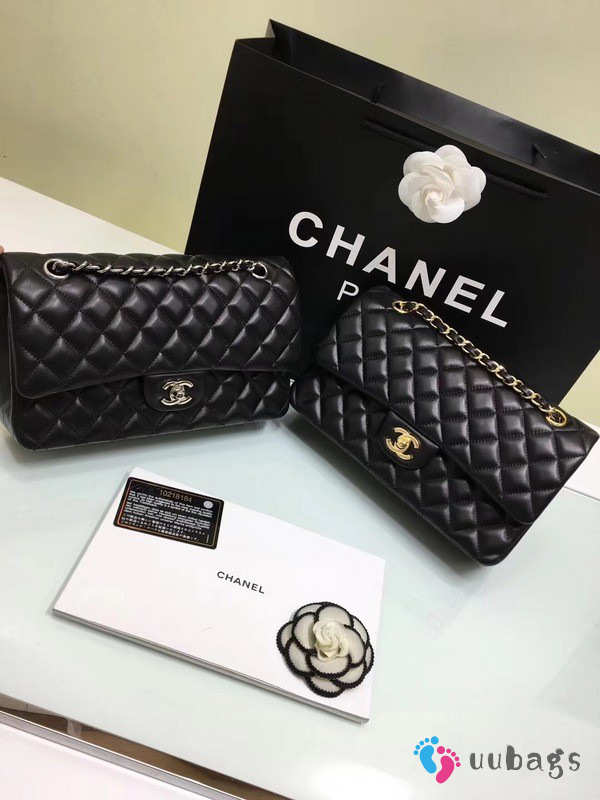 CHANEL 1112 black medium size 2.55 lambskin Leather Flap Bag with Gold/Silver Hardware