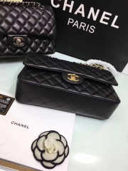 CHANEL 1112 black medium size 2.55 lambskin Leather Flap Bag with Gold/Silver Hardware - 6