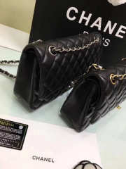 CHANEL 1112 black medium size 2.55 lambskin Leather Flap Bag with Gold/Silver Hardware - 5