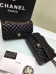 CHANEL 1112 black medium size 2.55 lambskin Leather Flap Bag with Gold/Silver Hardware - 4
