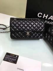 CHANEL 1112 black medium size 2.55 lambskin Leather Flap Bag with Gold/Silver Hardware - 2
