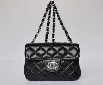 CHANEL 1112 Black Lambskin Leather Flap Bag With Silver Hardware
