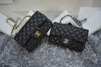 CHANEL 1112 Black Size 20cm Lambskin Leather Flap Bag With Gold / Silver Hardware
