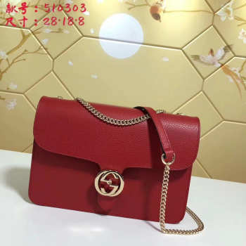 Gucci GG Flap Shoulder Bag On Chain Red 510303