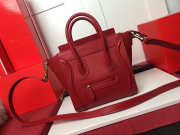 Celine NANO LUGGAGE SHOULDER BAG IN RED SMOOTH CALFSKIN - 1