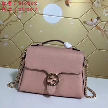Gucci GG Flap Shoulder Bag On Chain Pink 5103032