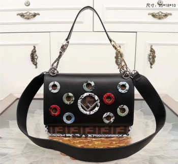 fendi kan handbag black 0592