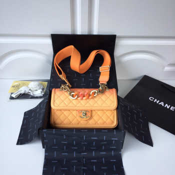 Chanel Flap Grained Calfskin Bag Orange AS0062