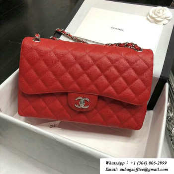 CHANEL Red Jumbo Calfskin Leather Double Flap Bag With silver/gold Hardware