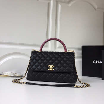 Chanel Flap bag with top handle Black&White&Wine
