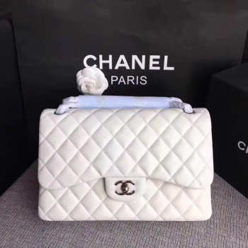 CHANEL white Size 30cm Lambskin Leather Flap Bag With Silver Hardware