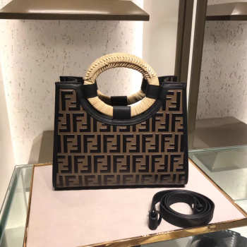 Fendi Small Runaway  FF Embossed Calf Shopping Tote Bag