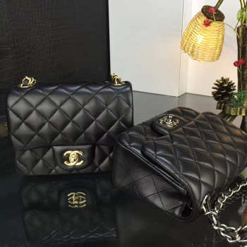 Chanel 17CM Mini Flap Bag Lambskin Leather With Gold&silver hardware