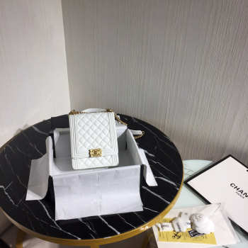 Boy Chanel Handbag 19.5cm White With Gold Hardware