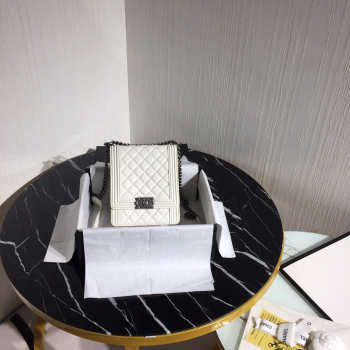 Boy Chanel Handbag 19.5cm White With Silver Hardware