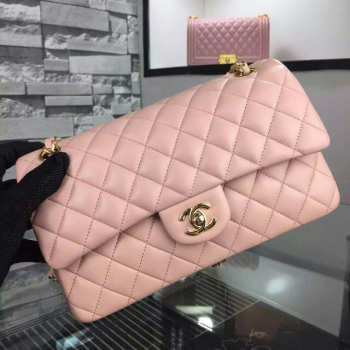 CHANEL 1112 Pink 2.55 Lambskin Leather Flap Bag With Gold&silver Hardware