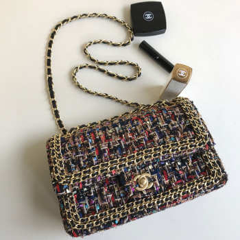 Chanel Flap Classic Tweed Handbag With Gold Hardware