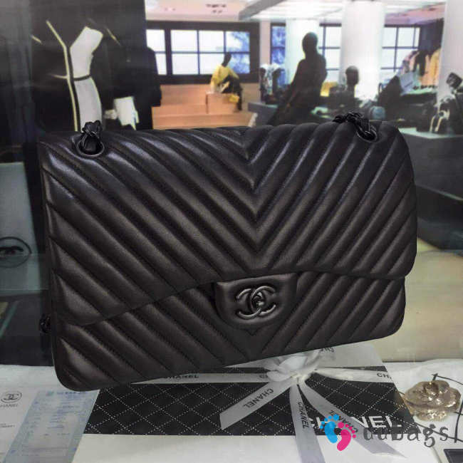 Chanel Lambskin Chevron Quilted 30cm Flap Black Bag