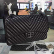 Chanel Lambskin Chevron Quilted 30cm Flap Black Bag  - 5