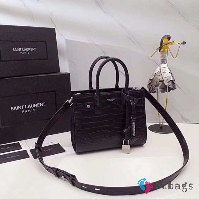 YSL SAC DE JOUR NANO IN SHINY EMBOSSED LEATHER