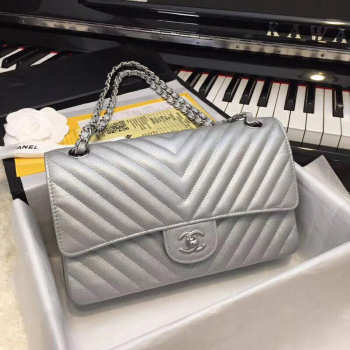 Chanel Chevron Quilted silver calfskin leather