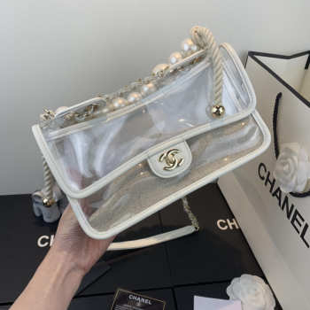 Chanel Transparent pearl sand bag White