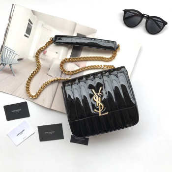 YSL VICKY SHOULDER BAG BLACK  20.5cm