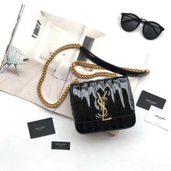 YSL VICKY SHOULDER BAG BLACK 17.5cm