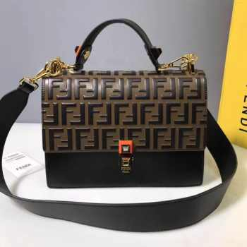 Fendi Kan I Shoulder Bag FF Black/Brown
