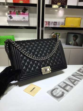 Chanel 30cm large boy bag black caviar leather with silver&gold hardware