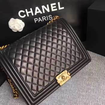 Chanel 30cm large boy bag black lambskin leather with silver&gold hardware