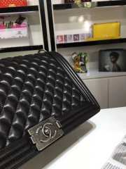Chanel 30cm large boy bag black lambskin leather with silver&gold hardware - 5