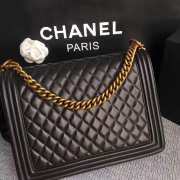 Chanel 30cm large boy bag black lambskin leather with silver&gold hardware - 4