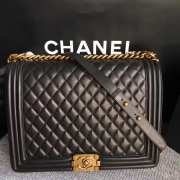 Chanel 30cm large boy bag black lambskin leather with silver&gold hardware - 3