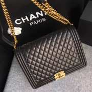 Chanel 30cm large boy bag black lambskin leather with silver&gold hardware - 2