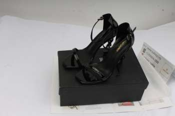 YSL 10cm heels shoes in gloss laminating black