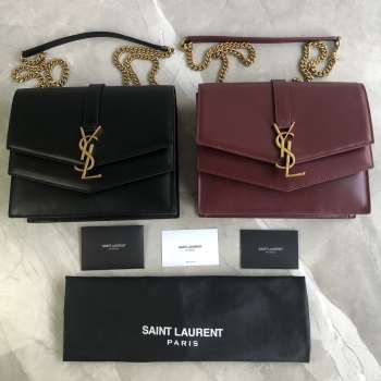 YSL SULPICE MEDIUM IN SMOOTH LEATHER Black&Red