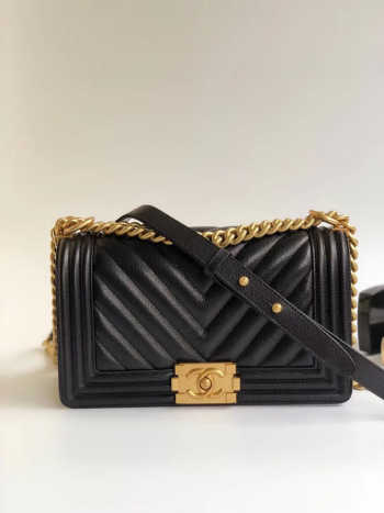 Chanel Le Boy 25cm Chevron Falp Caviar Black Leather